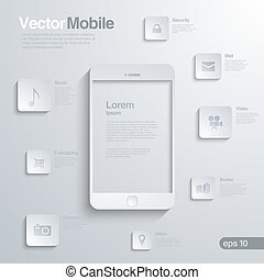 Mobile Smartphone with icon interface. Infographics.