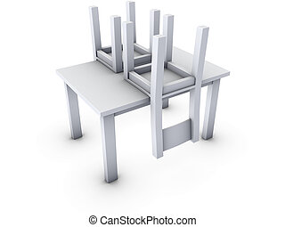 chairs on table - An isolated upside down chairs on table...