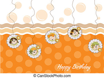 happy birthday greeting card with five little girls