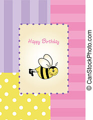 baby shower card with funny little bee