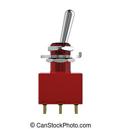 3D rendered red reflective switch