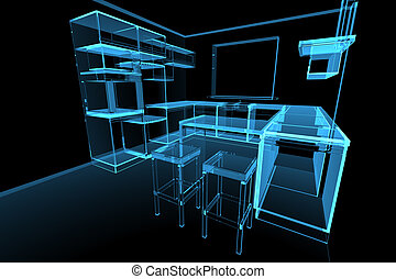 3D, representado, azul, modernos, futurista, cozinha