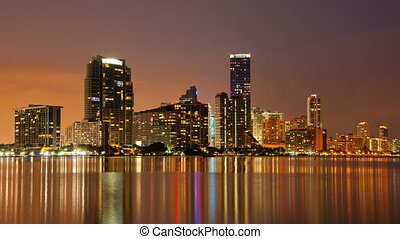 Time Lapse - Miami Skyline at dusk - Time lapse of the Miami...
