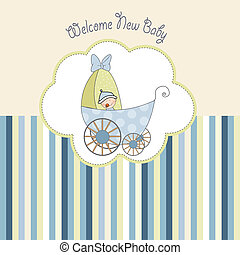 baby boy shower card with stroller