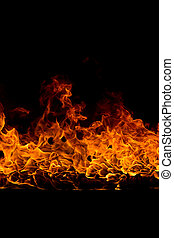 Blazing flames on black background - Blazing flames over...