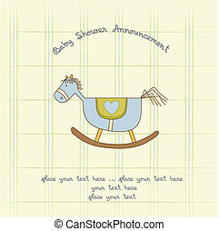 baby shower card with wood horse