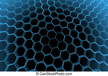 3D rendered blue xray transparent abstract hexagon