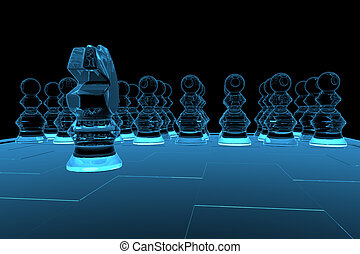 3D rendered blue xray transparent chess
