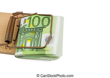 euro notes in mousetrap - many euro bank notes in mousetrap....