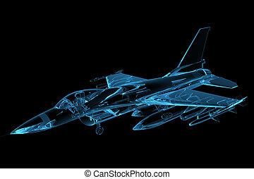 3D rendered blue xray transparent f16 falcon