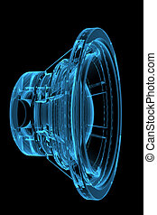 3D rendered blue xray transparent loudspeaker