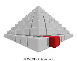 pyramid - An isolated pyramid made of many gray boxes and...