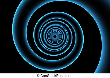 3D rendered blue xray transparent spiral