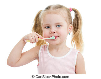 cute child girl brushing teeth isolated on white background