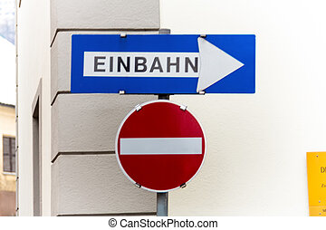 two-way street signs for - way street, two road signs,...
