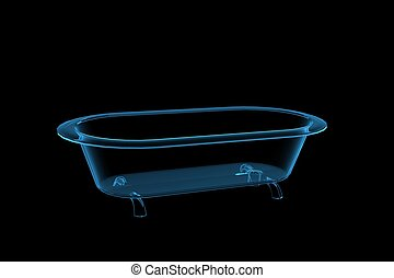 bathtub 3D rendered xray blue transparent