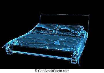 bed 3D rendered xray blue transparent