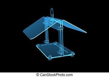 bird feeder techno 3D rendered xray blue transparent