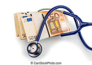stethoscope and euro banknotes, symbolic photo for monetary...