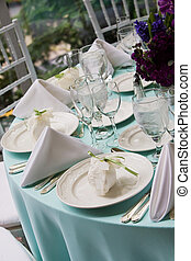 Wedding table with favors - Fancy table set for fine dining