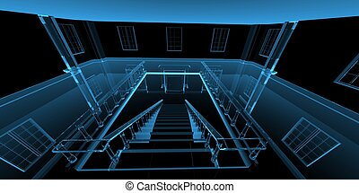 Inside house 3D rendered xray blue transparent