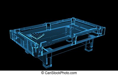 Pool table 3D rendered xray blue transparent