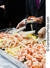 Seafood Party Platter - Photo of cooked shrimp and crab legs...