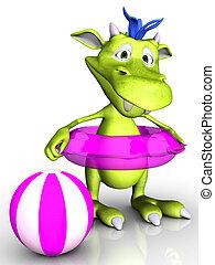 Cute cartoon monster wearing bathing ring.