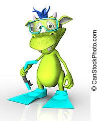 Cute cartoon monster wearing diving gear.