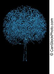 Magic tree 3D rendered xray blue transparent
