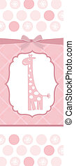 new baby announcement card with giraffe