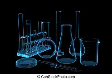 Lab Glasware 3D rendered xray blue transparent
