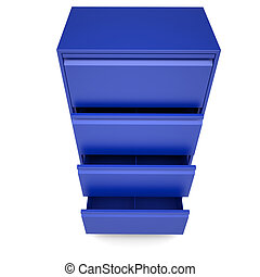 Blue metal cabinet Isolated render on a white background
