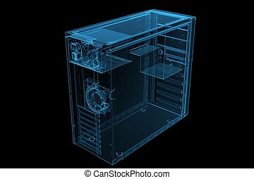 ATX MID TOWER CASE 3D xray blue transparent