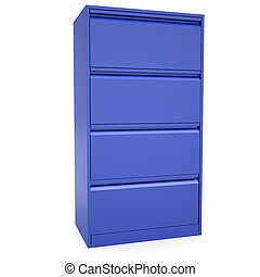 Blue metal cabinet. Isolated render on a white background