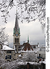 Church under snow - Snowy winter in Zurich