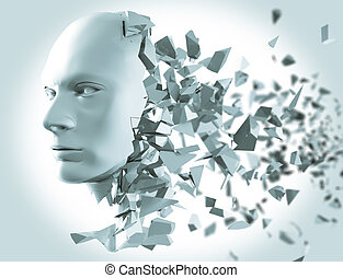 Shattered head side view - A 3d Rendering of a shattered...