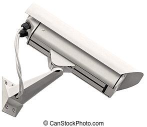 Video surveillance cctv camera, grey isolated large closeup,...