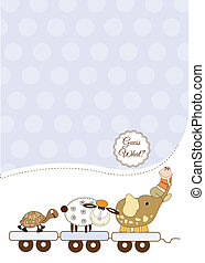 customizable baby card, vector illustration