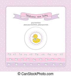 baby shower card with little duc, vector illustration