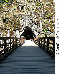 long, old wooden bridge going into a tunnel