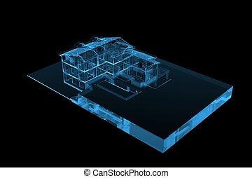 House 3D xray blue transparent