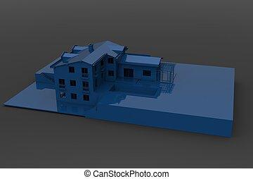 Blue shiny house