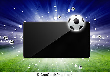 Soccer live - Sports background - soccer ball, tablet...