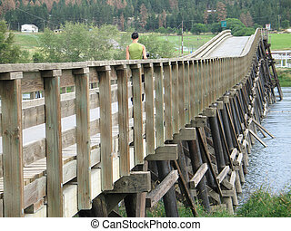 long, old wooden bridge