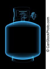 propano, tanque, (3D, radiografía, azul, transparent)