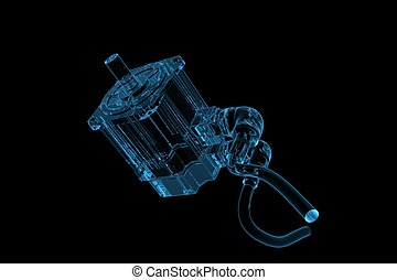 Electric motor 3D xray blue transparent