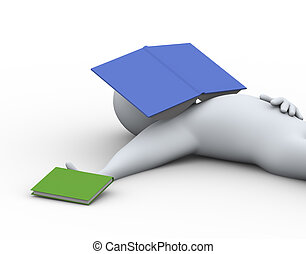3d man with book on his face. - 3d illustration of student...