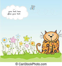 new baby shower card with cat, vector illustration