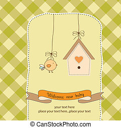 new baby announcement card with chicken